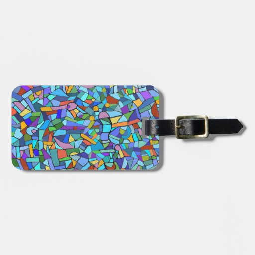 Abstract Colorful Blue Mosaic Pattern Luggage Tag