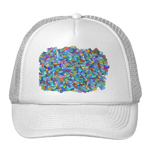 Abstract Colorful Blue Mosaic Pattern Mesh Hat
