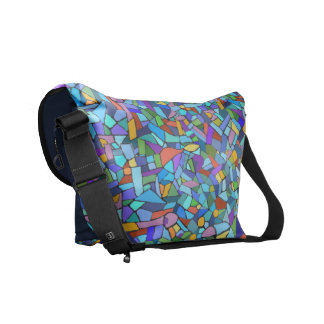 Abstract Colorful Blue Mosaic Pattern Messenger Bag