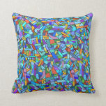 Abstract Colorful Blue Mosaic Pattern Throw Pillows