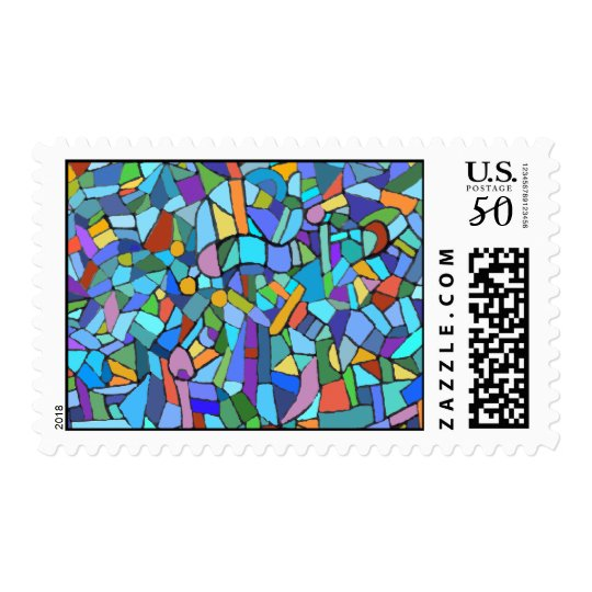 Abstract Colorful Blue Mosaic Pattern Postage