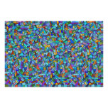 Abstract Colorful Blue Mosaic Pattern Poster