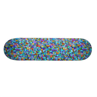 Abstract Colorful Blue Mosaic Pattern Skateboard Deck
