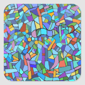 Abstract Colorful Blue Mosaic Pattern Square Sticker