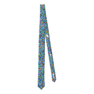 Abstract Colorful Blue Mosaic Pattern Tie