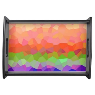 Abstract colorful crystal pattern food trays