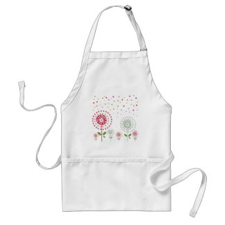 abstract colorful dandelion flowers dots adult apron