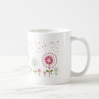 abstract colorful dandelion flowers dots classic white coffee mug