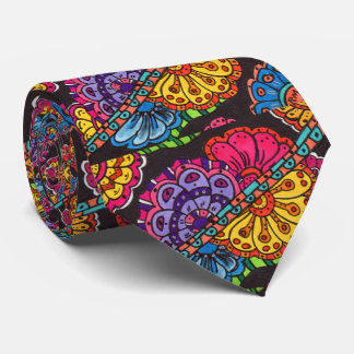 Abstract Colorful Doodle Graffiti Floral Flower Neck Tie