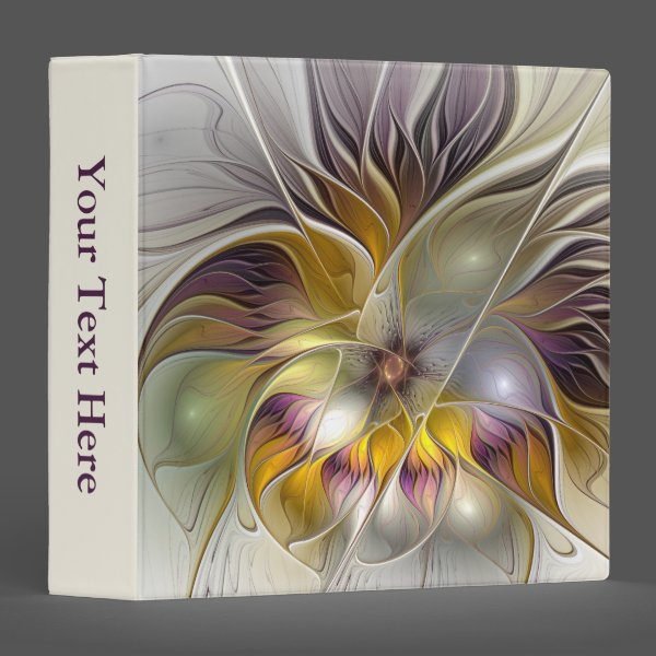 Abstract Colorful Fantasy Flower Modern Art Text 3 Ring Binder