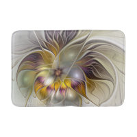 Abstract Colorful Fantasy Flower Modern Fractal Bath Mat