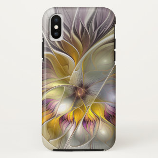 Abstract Colorful Fantasy Flower Modern Fractal iPhone X Case