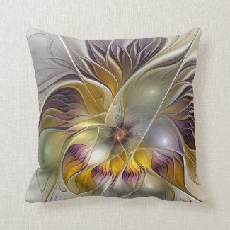 Abstract Colorful Fantasy Flower Modern Fractal Throw Pillow