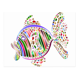Abstract Colorful Fish Postcard