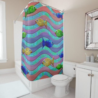 abstract colorful fish shower curtain