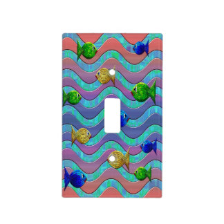 Abstract colorful fish switch plate cover