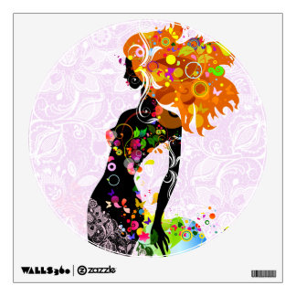 Abstract Colorful Floral Fashion Girl Wall Sticker