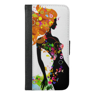 Abstract Colorful Floral Girl Silhouette iPhone 6/6s Plus Wallet Case