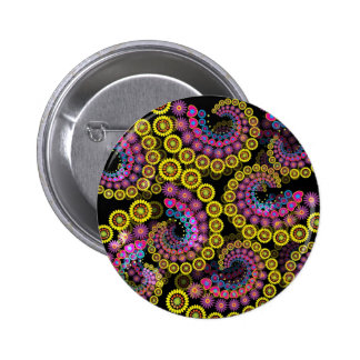 Abstract colorful flowers spirals pinback buttons