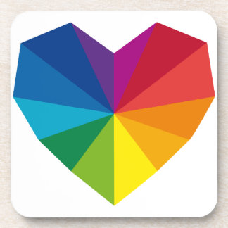 abstract colorful geometric heart beverage coaster