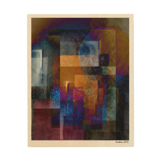 Abstract Colorful Geometric Industrial Grunge Wood Wall Art