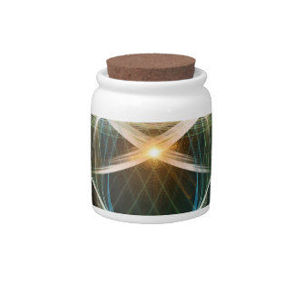 Abstract, colorful glowing lines candy jar