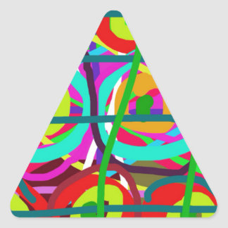 ABSTRACT COLORFUL GRAPHIC ART  GIFTS TRIANGLE STICKER