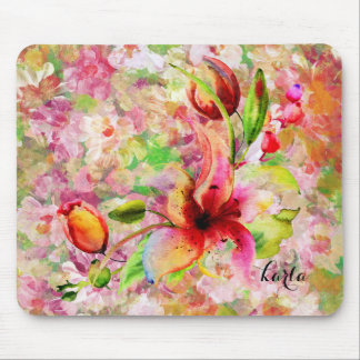 Abstract Colorful Grungy Watercolor Lily Mouse Pad