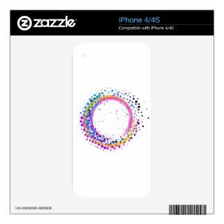 Abstract colorful halftone paintbrush swirl decals for iPhone 4