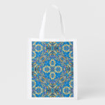 Abstract colorful hand drawn curly pattern design grocery bag