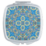 Abstract colorful hand drawn curly pattern design mirror for makeup