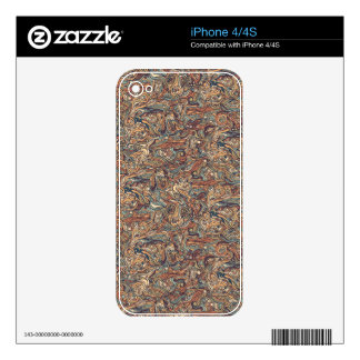 Abstract colorful hand drawn curly pattern design skin for iPhone 4S