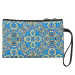 Abstract colorful hand drawn curly pattern design suede wristlet wallet