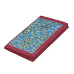 Abstract colorful hand drawn curly pattern design tri-fold wallets