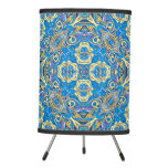 Abstract colorful hand drawn curly pattern design tripod lamp