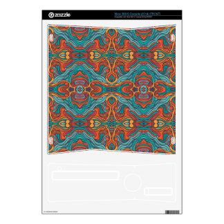 Abstract colorful hand drawn curly pattern design xbox 360 s console skins