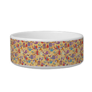 Abstract colorful hand drawn floral pattern design bowl