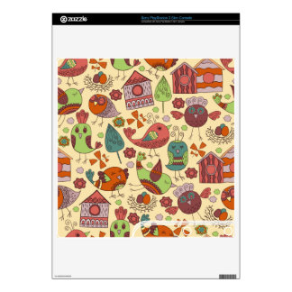 Abstract colorful hand drawn floral pattern design decal for the PS3 slim