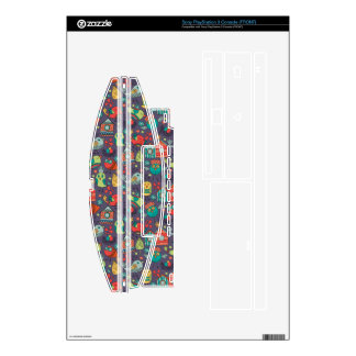 Abstract colorful hand drawn floral pattern design skin for PS3