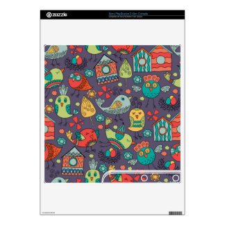 Abstract colorful hand drawn floral pattern design skin for the PS3 slim