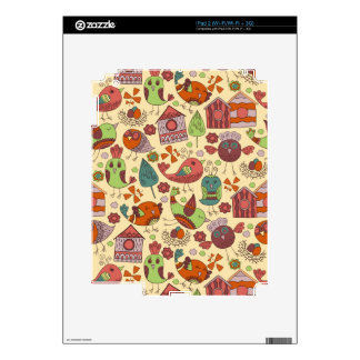 Abstract colorful hand drawn floral pattern design skins for the iPad 2