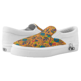Abstract colorful hand drawn floral pattern design Slip-On sneakers