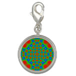 Abstract colorful hearts and circle pattern charms