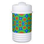 Abstract colorful hearts and circle pattern igloo beverage dispenser