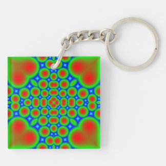 Abstract colorful hearts and circle pattern keychain