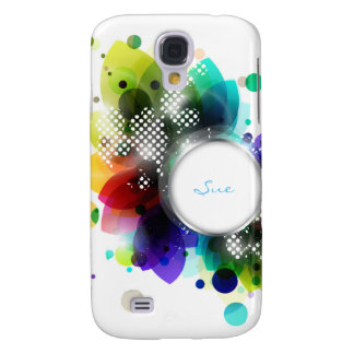 abstract colorful leaves and frame for name samsung galaxy s4 cover