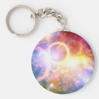 Abstract Colorful Lights Art Basic Round Button Keychain
