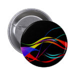 Abstract Colorful Lines and Waves Pattern Pinback Buttons