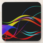 Abstract Colorful Lines and Waves Pattern Drink Coaster