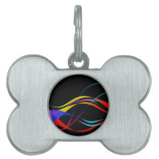 Abstract Colorful Lines and Waves Pattern Pet ID Tag